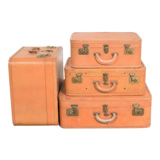 4 Vintage Stratosphere Rappaport Leather Suitcases Luggage as Side Tables End Tables For Sale