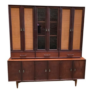 1960's Ramseur Walnut and Caned Credenza For Sale