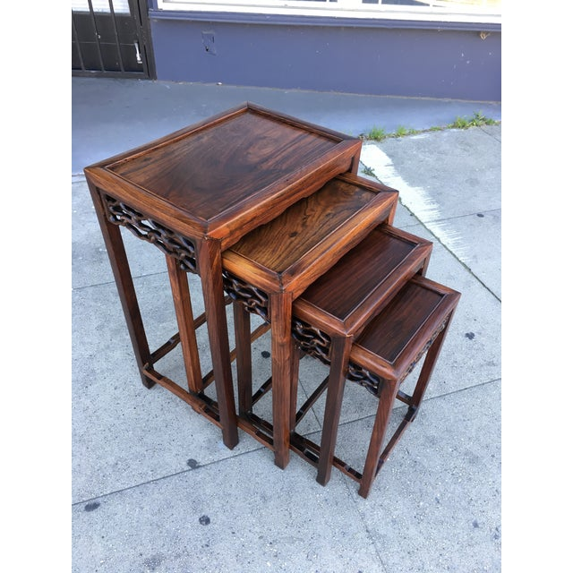 20th Century Chinese Rosewood Nesting Tables - Set of 4 For Sale - Image 12 of 12