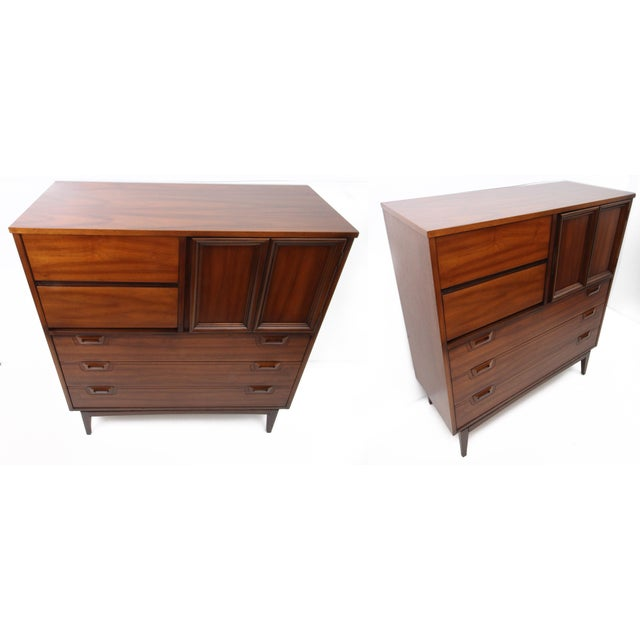Contemporary 1960s Danish Modern Highboy 5-Drawer Dresser With Cabinet For Sale - Image 3 of 9