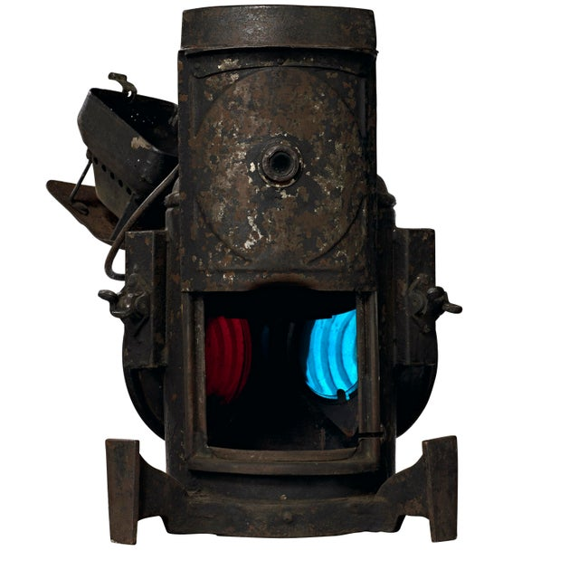 19th Century Industrial Adlake Rare Railroad Switching Light/Lantern For Sale - Image 10 of 13