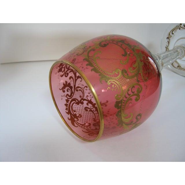 Antique Gold Encrusted Crystal Chalice Vase For Sale - Image 5 of 7