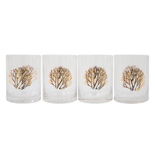 Gold Coral Cocktail Glasses - Set of 4 For Sale - Image 4 of 4