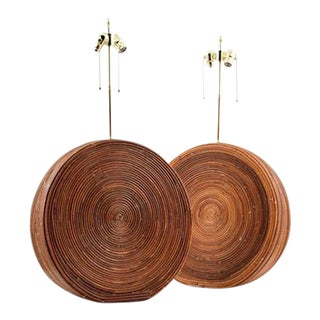 Large Pair of Table Lamps in the Manner of Gabriella Crespi For Sale