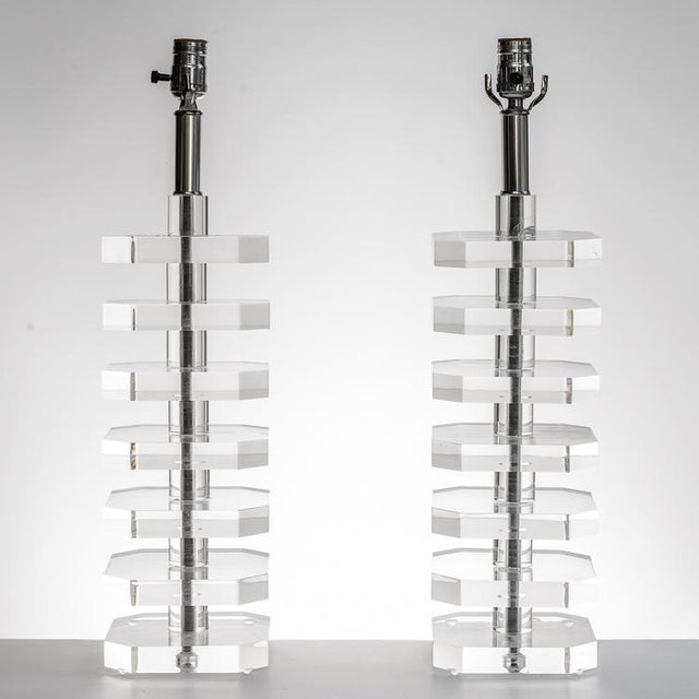 Transparent 1970s Mid-Century Stacked Lucite Table Lamps - a Pair For Sale - Image 8 of 11