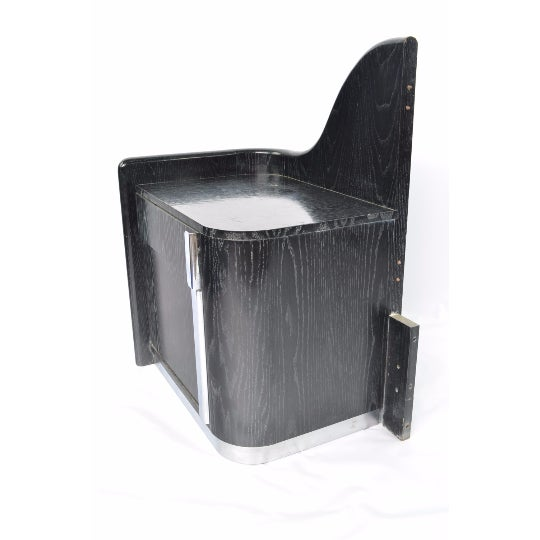 Black Cerused White Oak Bedside Tables - Pair - Image 4 of 5