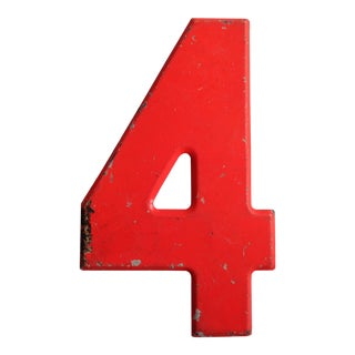 Vintage Rustic Neon Orange Metal Number '4' Sign For Sale
