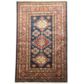 Hand-Knotted Navy Kazak Rug - 2′7″ × 4′ For Sale