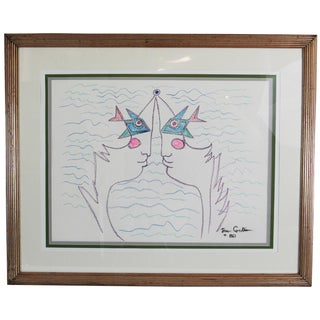1961 Vintage Jean Cocteau Original Drawing For Sale