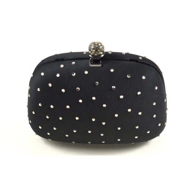 Rodo Black Silk Crystallized Clutch For Sale - Image 4 of 4