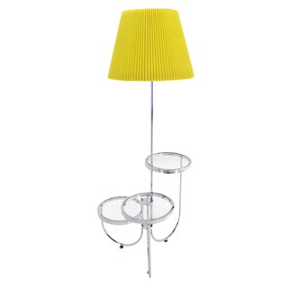 Chrome Floor Lamp with Three Circular Built-In Stand Tables For Sale