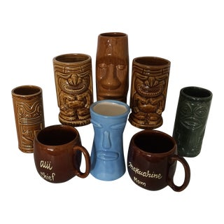 Vintage Collection of Hawaiian Tiki Tumblers & Mugs - 8 Piece For Sale