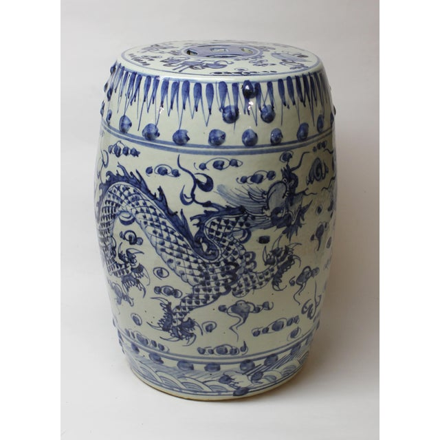 Ceramic Chinese Blue and White Ceramic Garden Stool For Sale - Image 7 of 10