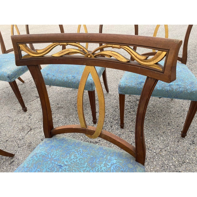Brown Late 20th Century Baker Furniture Curved Italian Gold Leaf Regency Dining Chairs, Set of Six For Sale - Image 8 of 13