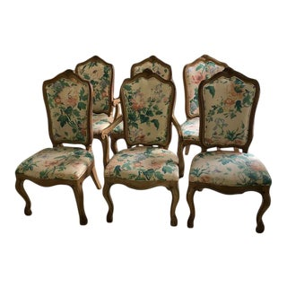 1980s Vintage French-Style Oak Dining Chairs- Set of 6 For Sale