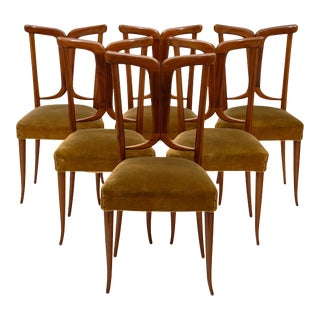 Modernist Walnut Dining Chairs in the Style of Paolo Buffa For Sale