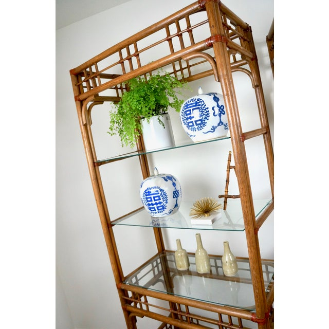 Wood McGuire Style Rattan Etageres - A Pair For Sale - Image 7 of 11