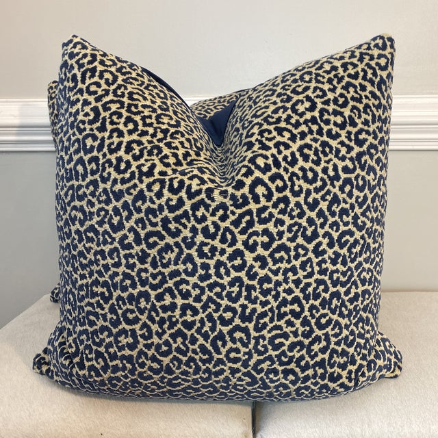"""Textile Scalamandre """"Panthera Velvet"""" in Indigo 22"""" Pillows-A a Pair For Sale - Image 7 of 7"""