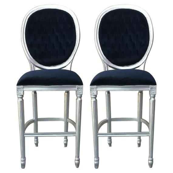Silver & Black Velvet French Bar Stools - A Pair - Image 1 of 2