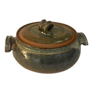 1970 Art Glazed Ceramic Pottery Large Pot & Lid For Sale