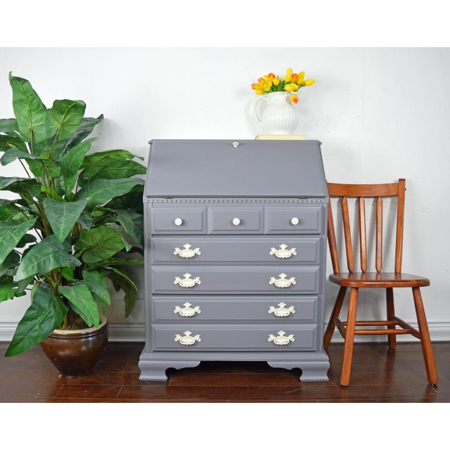 Federalist maple gray and off white secretary desk with three drawers and fold out table. Refinished in matte Gray.