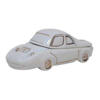 White Porcelain Car-Shaped Stash Box For Sale