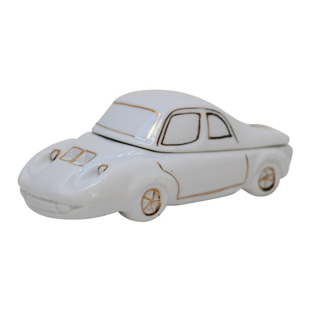 White Porcelain Car-Shaped Stash Box - Image 1 of 6
