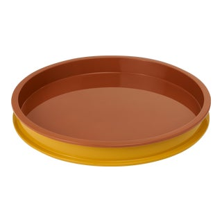 Large Circular Tray in Mayan Gold / Saddle Tan - Jeffrey Bilhuber for The Lacquer Company For Sale