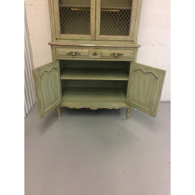 Lights 1960s French Provincial Stepback Cupboard With Wire Mesh For Sale - Image 7 of 8