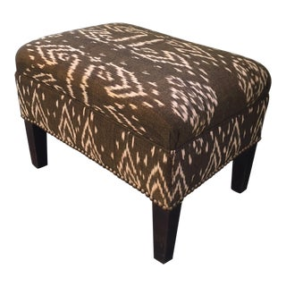 Bronze Ikat Upholstered Footstool
