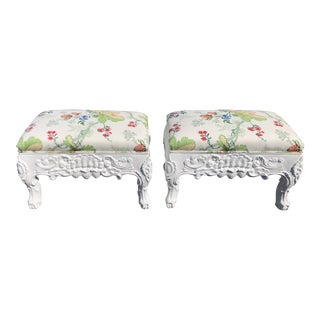 Charles Pollock Hollywood Regency Ottoman Footstool Benches W Brunschwig & Fils - a Pair For Sale