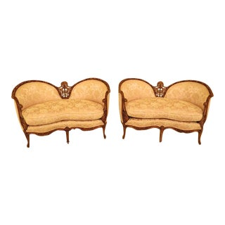 French Louis XV Style Carved Walnut Loveseats - a Pair