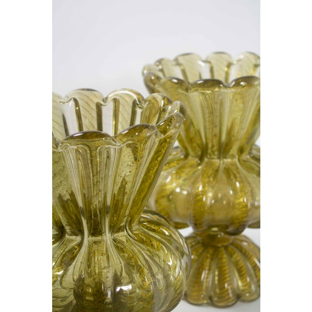 Italian 1920s Gold Murano Vases - a Pair For Sale - Image 3 of 5