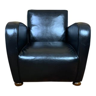 Vintage Mid-Century Black English Art Deco Leather Club Chair For Sale
