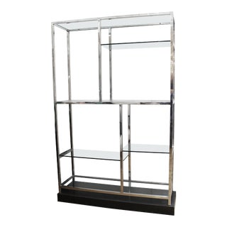 Milo Baughman Style Modern Chrome and Glass Etagere on Marble Base For Sale