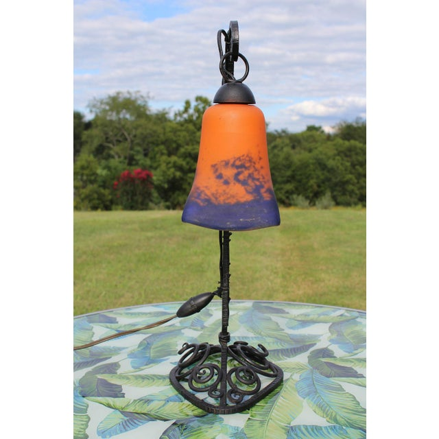 1920s 1920s French Art Deco Wrought Iron Double Lamp With Glass Shades For Sale - Image 5 of 12