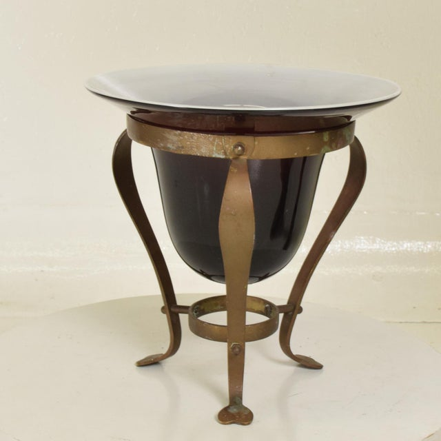 Antique Hand Fruit Bowl in Solid Brass and Handblown Glass For Sale - Image 4 of 7