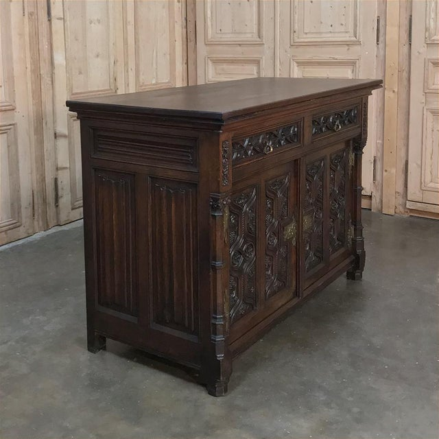 19th Century French Gothic Oak Buffet With Brass Hardware For Sale - Image 4 of 13