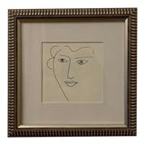 "Image of ""Portrait of a Lady"" Original Framed Ink Drawing For Sale"