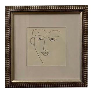 """Portrait of a Lady"" Original Framed Ink Drawing For Sale"