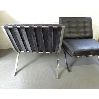 Modern Mid Century Selig Barcelona Style Black Leather & Chrome Chairs - a Pair Preview