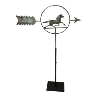 19th Century Running Horse within a Circle Weathervane on Stand For Sale