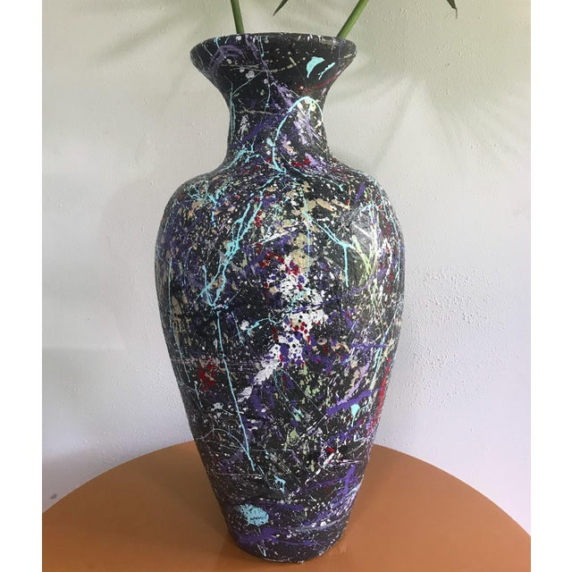 Abstract Large Jackson Pollock Style Splatter Paint Floor Vase For Sale - Image 3 of 7