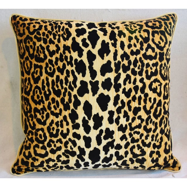 """Abstract Custom Leopard Spot Safari Velvet Feather/Down Pillow 26"""" Square For Sale - Image 3 of 6"""
