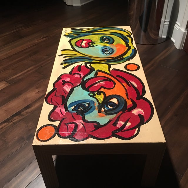 1970s Peter Keil Hand Painted Abstract Coffee Table For Sale - Image 10 of 13