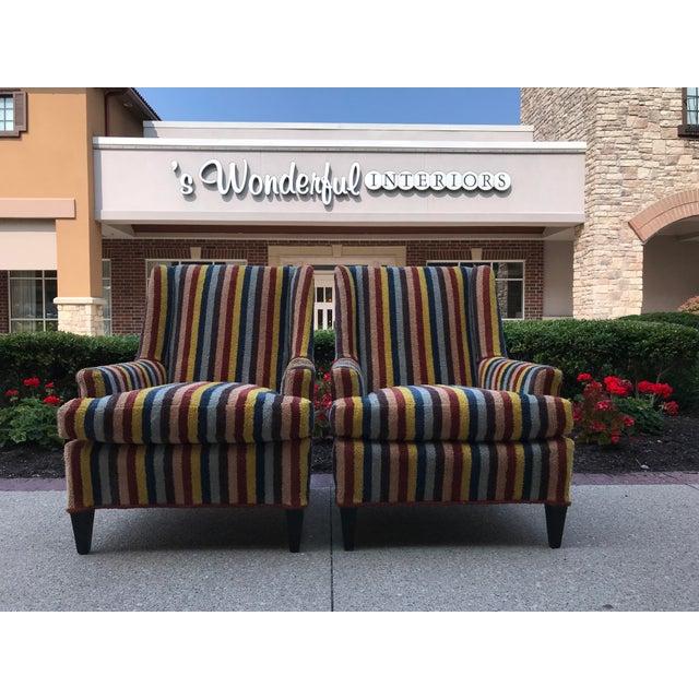 Vintage Century Furniture Kravet Vespa Multi Color Stripe Club Chairs - a Pair For Sale - Image 12 of 13