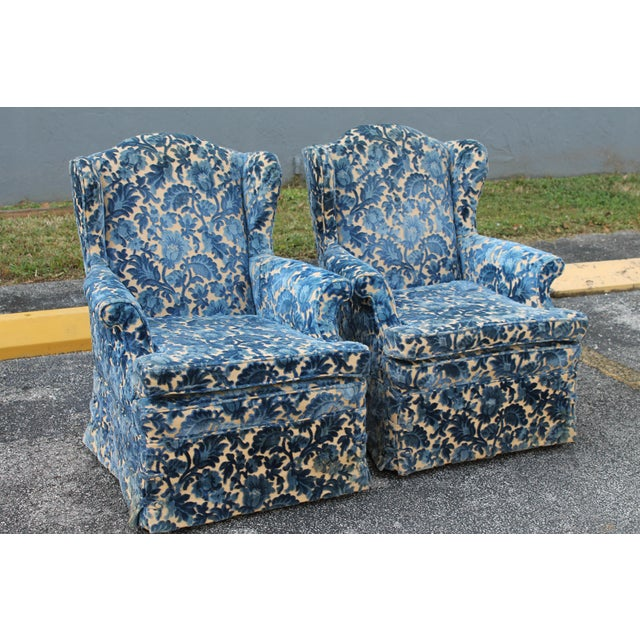 Traditional Cut Crushed Velvet Wingback Chairs - A Pair For Sale - Image 3 of 10