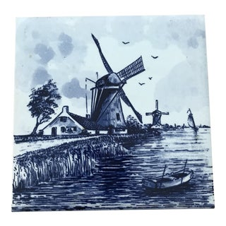 Holland Blue & White Windmill Coaster Tile For Sale