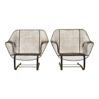 1950s Vintage Russell Woodard Sculptura Metal Mesh Wrought Iron Bouncer Lounge Chairs- A Pair For Sale