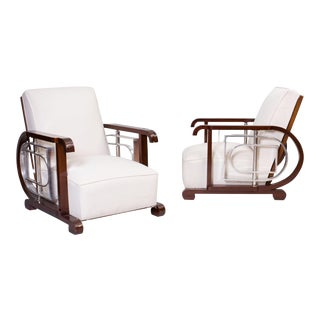 1980s Vintage Art-Deco Style Armchairs- A Pair For Sale